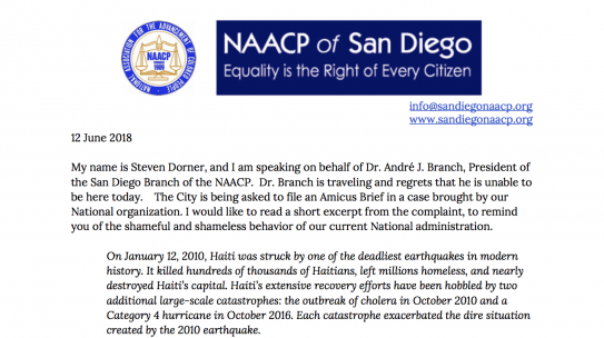 City of San Diego Urged to Support NAACP Lawsuit Against Trump Administration