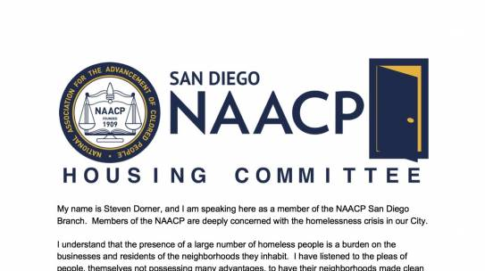 City of San Diego Urged to Cease Criminalizing Homelessness