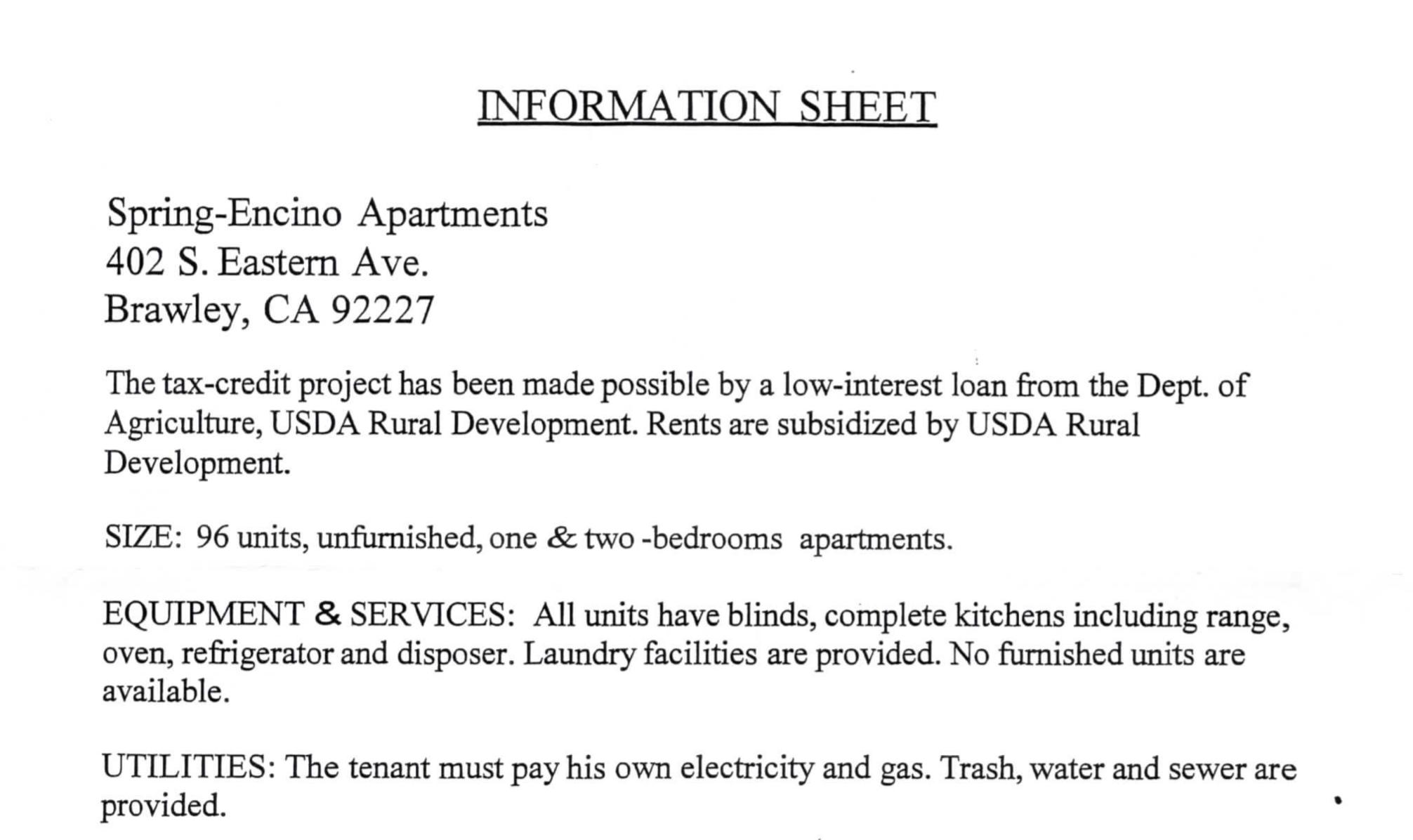 Housing Notice: Spring-Encino Apartments