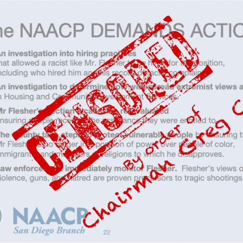 Censorship of NAACP Message on Racism in San Diego County Housing and Community Development Services