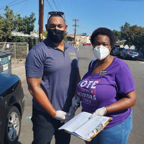 NAACP Distributing Food and Registering Voters
